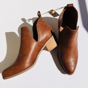 Tan/ Brown American Eagle Outfitters Slit Booties